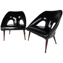 Pair of Vintage Modern Glossy Black Vinyl Lounge Chairs