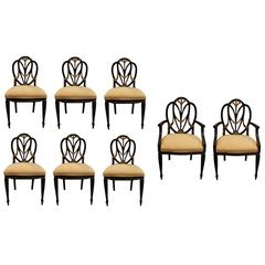Set of Eight Hepplewhite Style Shield Back Dinning Chairs