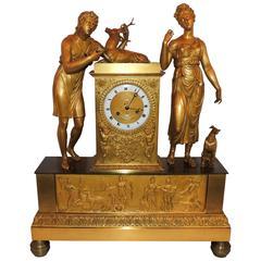 Wonderful French Empire Doré Bronze Figural Clock Big Napoleon III 19th Century