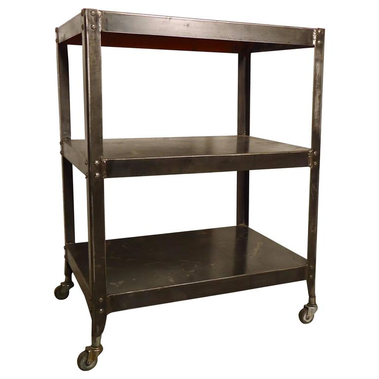 Vintage Industrial Three-Tier Factory Rolling Cart