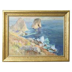 Framed Impressionist Pastel of the Faraglioni in Capri