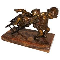 Wonderful Signed Bronze Sculpture Juan Clara Ayats Onyx Girls Playing with Chair
