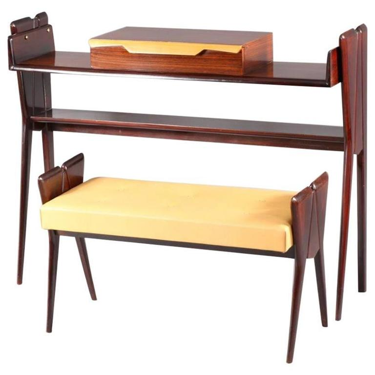 Italian Console Table with Integrated Bench Attributed Ico Parisi