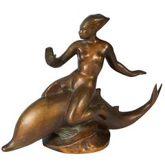 """Signed Art Deco Bronze """"Naiad and Dolphin"""" Sculpture, France, 1930s"""