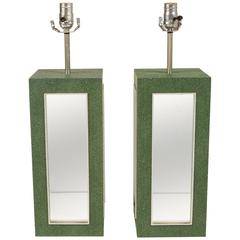 Pair of Faux Shagreen Mirrored Lamps