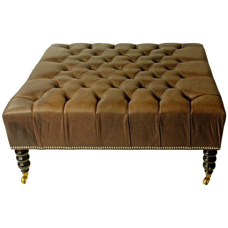 english tufted leather ottoman for sale at 1stdibs. Black Bedroom Furniture Sets. Home Design Ideas