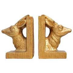 Hollywood Regency Stag Head Bookends by Merlini, circa 1950s