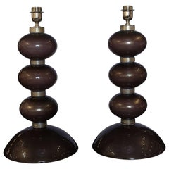 Pair of Table Lamps in Bronzed Murano Glass