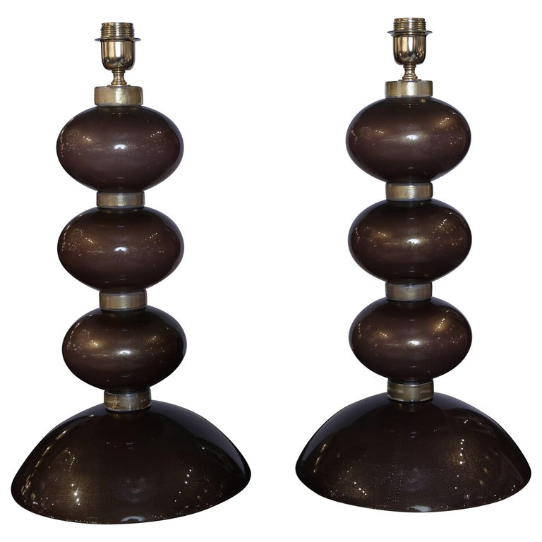Pair of Table Lamps in Bronzed Murano Glass For Sale