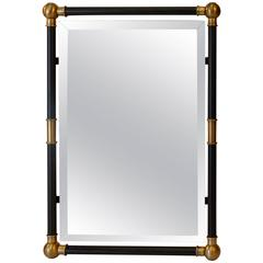 Deco Black and Gilt Mirror