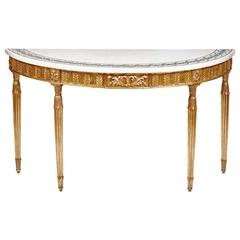 Late 18th Century Gilt Console Table with Inlaid Marble Top