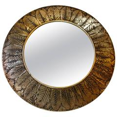 Gilt Leaves Round Mirror
