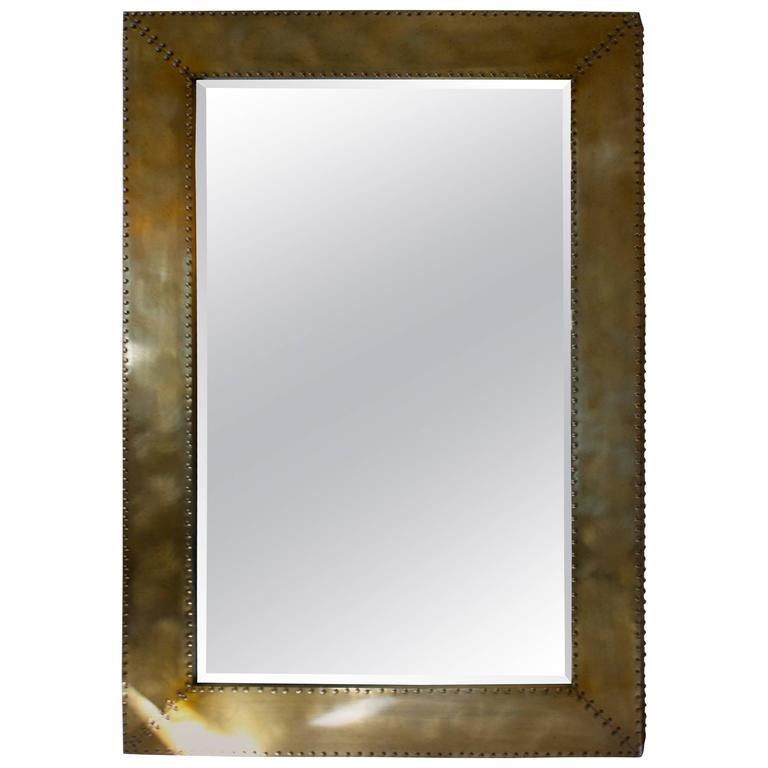 Large Burnished Brass Floor Mirror