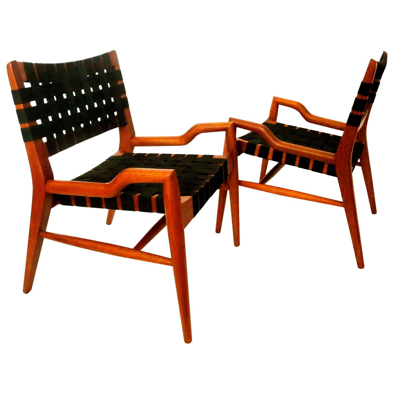 Striking Pair Of Petite Club Chairs By John Keal For Brown