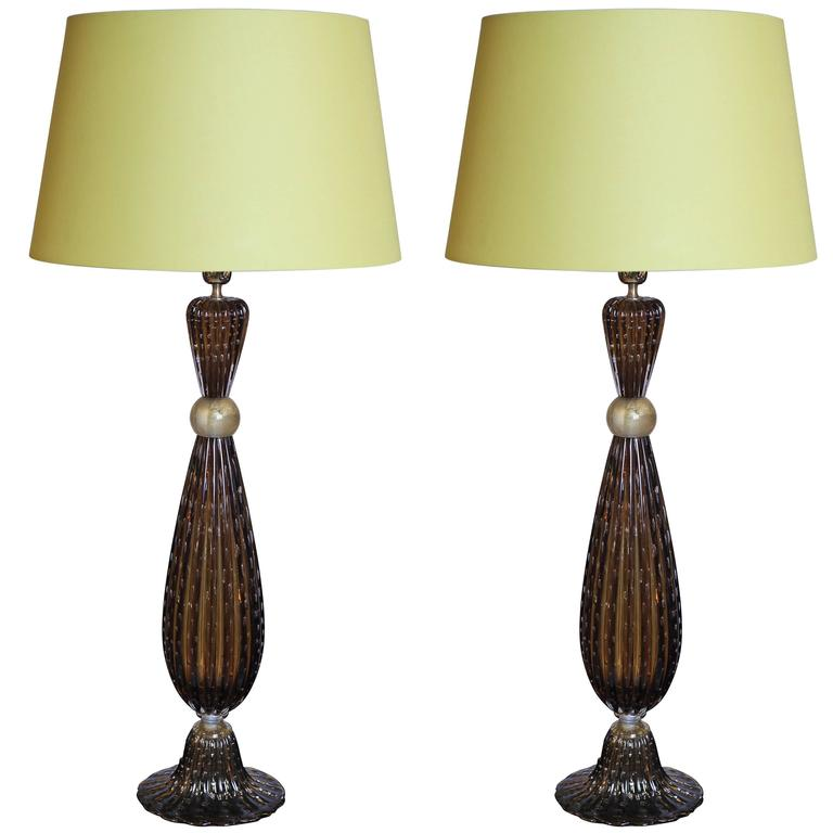 Pair of Murano Glass Tall Lamps in the Style of Barovier, circa 1997