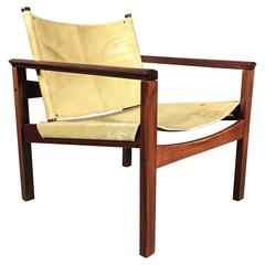 "Michel Arnoult Rosewood and Leather ""PegLev"" Chair, Brazil 1968"