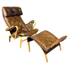"""Bruno Mathsson Brown Leather """"Pernilla"""" Chair for DUX, Sweden, 1970"""