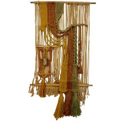 Large 1960s Macrame Fiber Art
