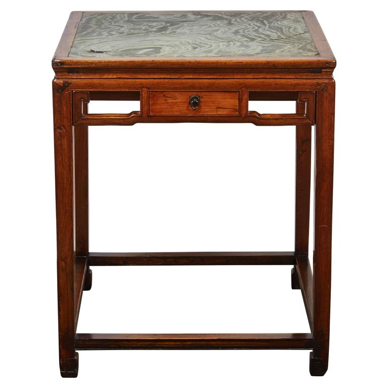 18th Century Chinese Four-Drawer Cedar Square Table with Green Marble