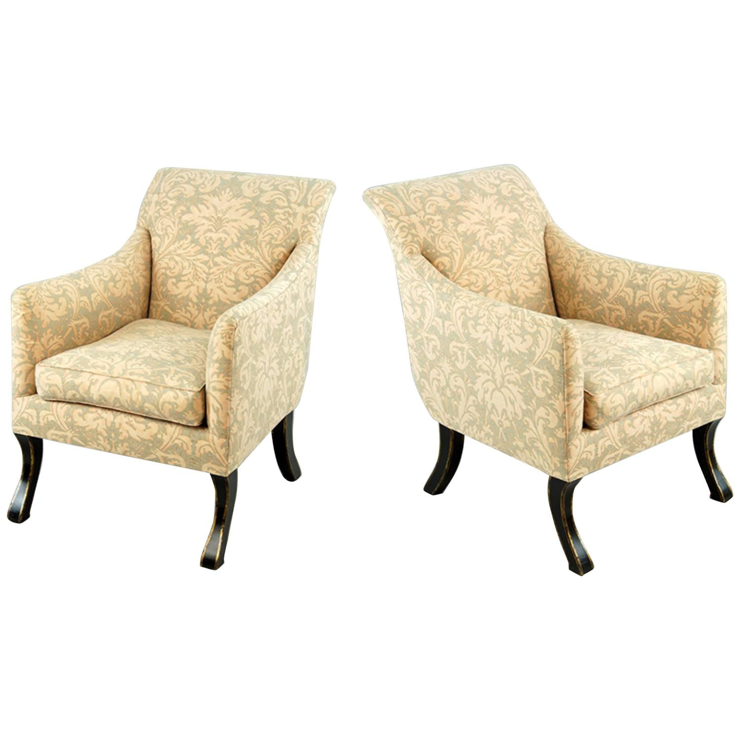 Missoni Fabric Covered Bergere Chair: Exceptional Pair Of Rose Tarlow Armchairs Covered In
