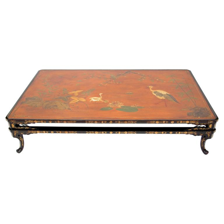 Vey Big Chinese Style Lacquer Coffee Table From 1950 Top From 19th Century At 1stdibs