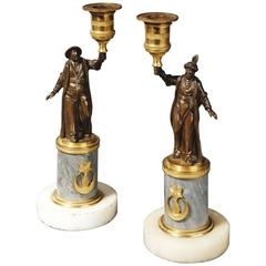 Pair of Regency Period Candlesticks with Bronze Turkish Figures