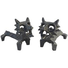 Pair of Foxes Sculpture, Cast Iron from 1980