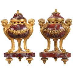 Pair of 19th Century Gilt Bronze and Marble Incense Burners