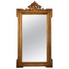 Napoleon III Second Empire Gilt Rectangular Wall Mirror, France, 19th Century