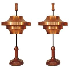 Spectacular and Large Pair of Copper Table Lamps