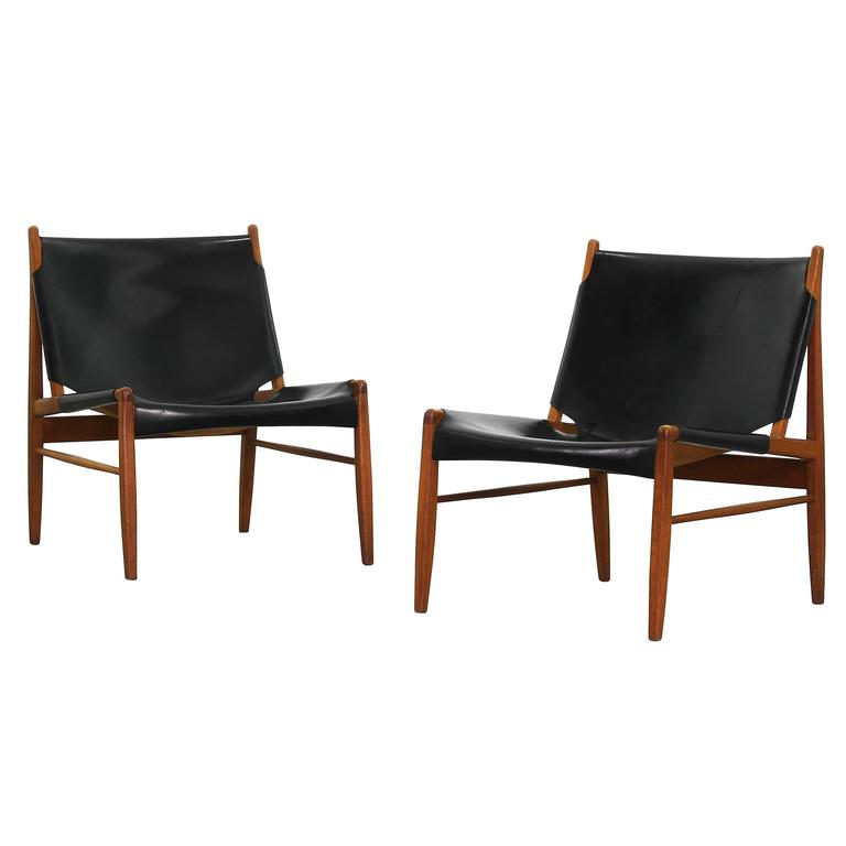 rare pair of hunting lounge chairs by franz xaver lutz for. Black Bedroom Furniture Sets. Home Design Ideas