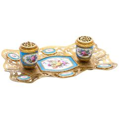 Antique French Ormolu and Sèvres Porcelain Standish Inkstand