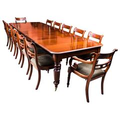Antique William IV Mahogany Extending Dining Table and 12 Chairs