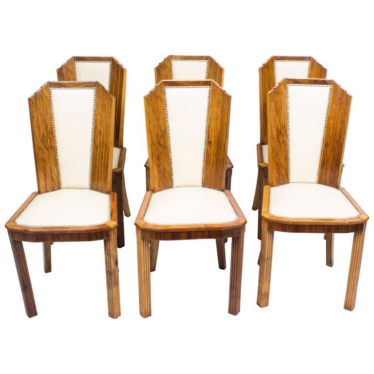 Antique Set Of Six Art Deco Skyscraper Walnut Chairs