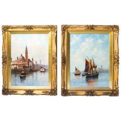 Antique Pair of Oil Paintings Venice Jan van Couver, 19th Century