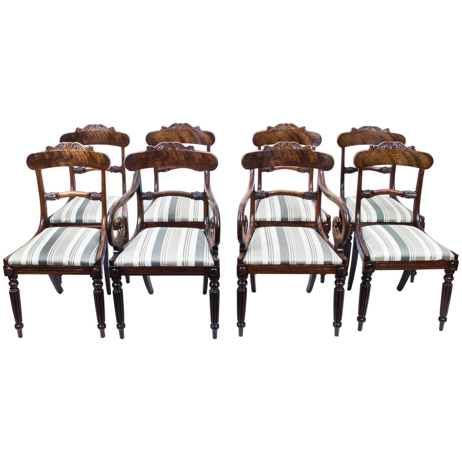 Antique Set of Eight Regency Flame Mahogany Dining Chairs circa