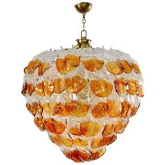 Italian Murano Mazzega Chandelier with 99 Amber and Transparent Leafs, 1960s