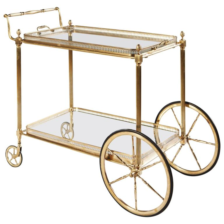 Maison Jansen Polished Brass and Glass Bar Cart or Cocktail Table