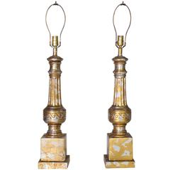 Pair of James Mont Silver and Gold Leaf Camouflage Lamps