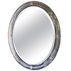 Glittery Vintage Venetian Oval Mirror