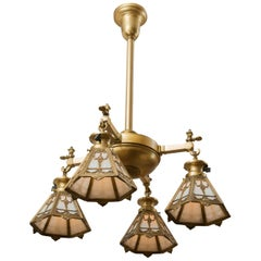 Four-Arm Gilt Bronze Chandelier with Signed, Bradley & Hubbard Shades