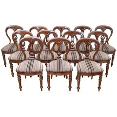 Quality Set of 12 Victorian Mahogany Dining Chairs by J. Reilly