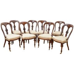 Set of Eight Early Victorian Mahogany Dining Chairs
