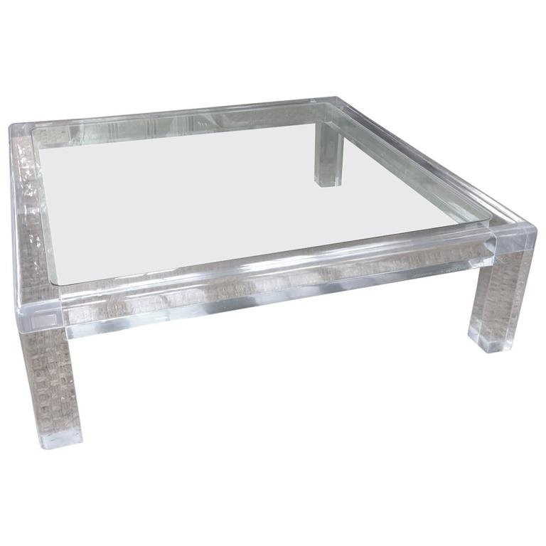 Massive Square Mid-Century Modern Lucite Coffee Table