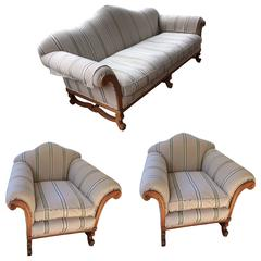 Rare Three-Piece Set of Oliver Messel Sofa and Club Chairs
