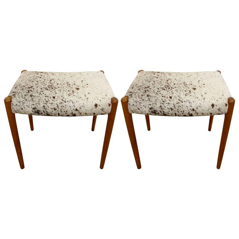 Pair Of Mid Century Danish Niels O Moller Stools In White
