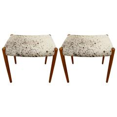 Pair of Mid-Century Danish Niels O. Moller Stools in White and Brown Cowhide