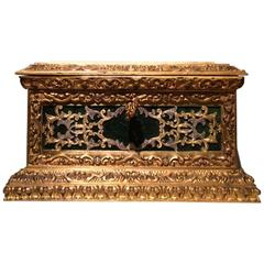 Small Napoleon III Jewelry Box in Renaissance Style in Gilt Bronze and Silver