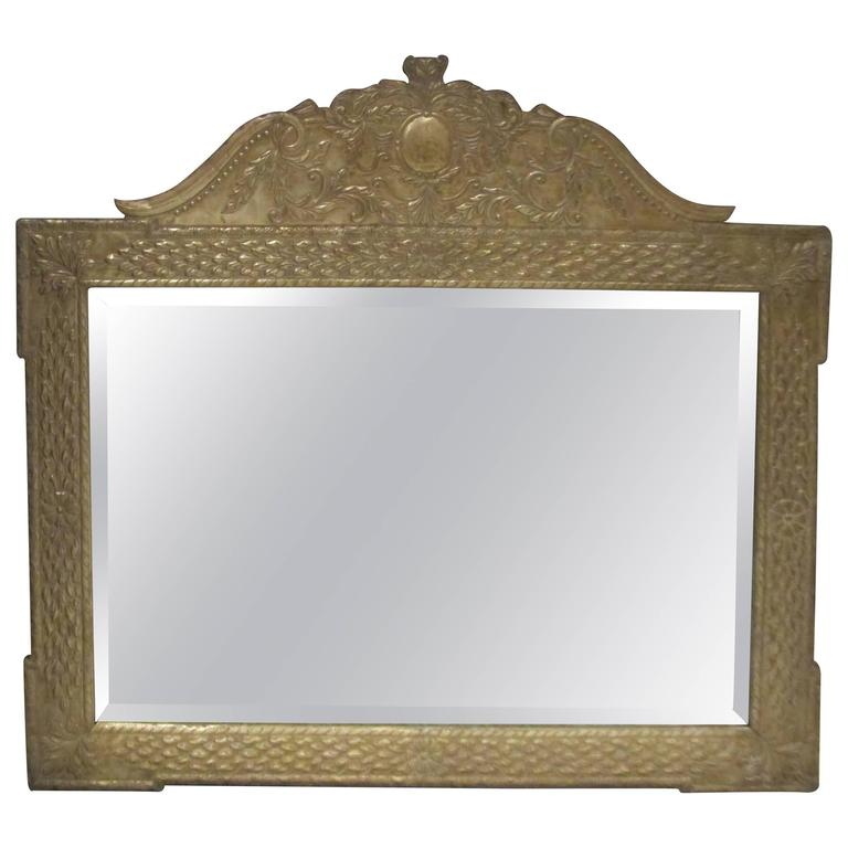 Anglo-Japanese Style Horizontal Metal Clad Mirror For Sale