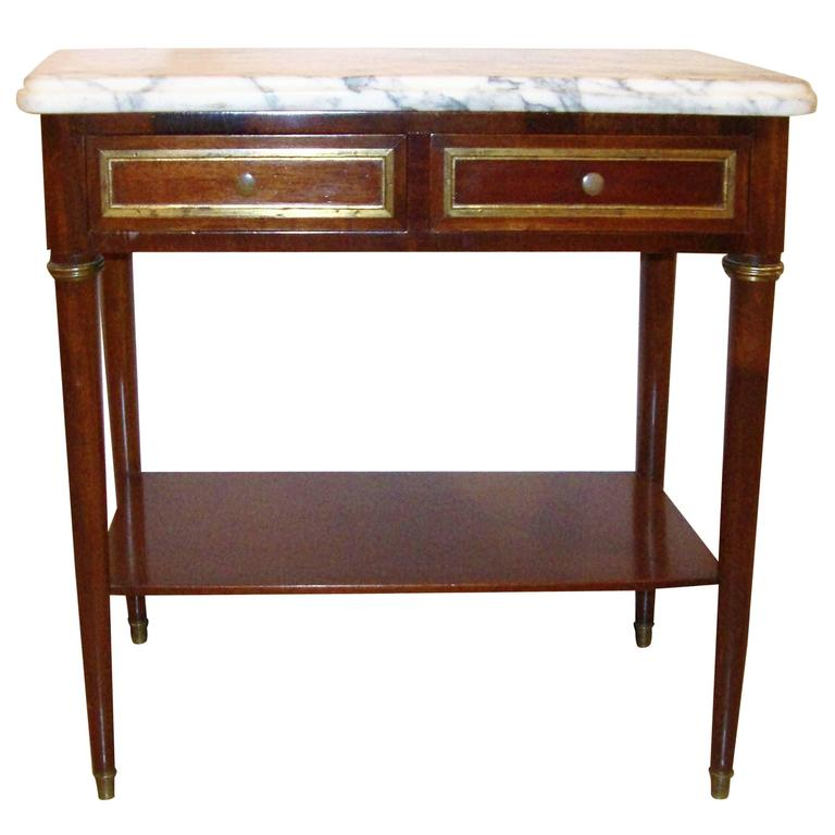 Diminutive Marble-Top Mahogany Stand, End Table in the Manner of Jansen For Sale